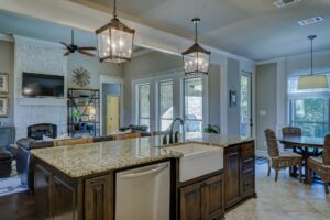 results of Houston kitchen remodeling with farmhouse sink in kitchen island